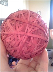 Ball of rubber bands [Pic: Sandra Laird]
