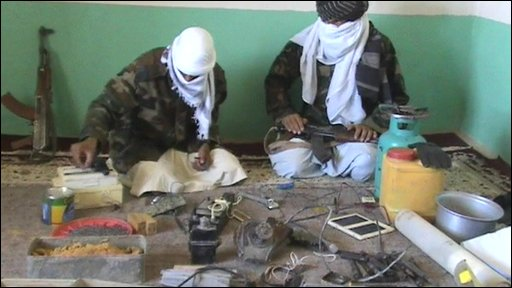 Members of Taliban with ingredients to make bombs