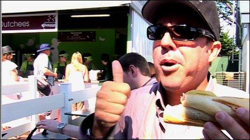 Jeff Tarango with a sausage