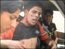 An injured Iraqi man in Baghdad. Photo: 25 June 2009