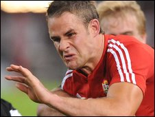 Full-back Lee Byrne scored two tries for the Lions in South Africa