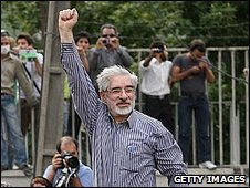 Mir Hossein Mousavi at a rally in Tehran. Photo: June 2009