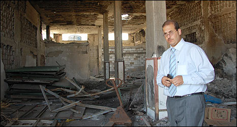 Yasser al-Wadiya, Chairman of al-Wadiya Group in burnt out store room