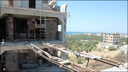 View from damaged part of al-Badr flour mill, Gaza Strip