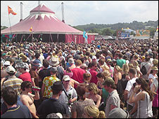 Revellers at Maximo Park performance