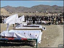Scene of alleged US drone strike in Pakistan in February 2009