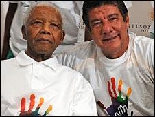 Nelson Mandela with Joel Santana