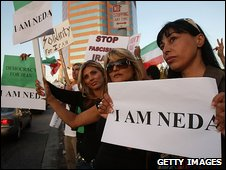 US-Iranian women protest in Los Angeles
