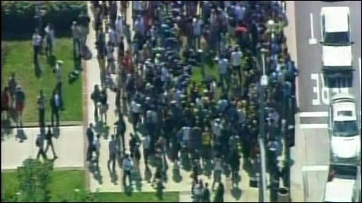 Crowds at UCLA medical centre