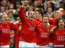 Man Utd players celebrate winning last season's Premier League