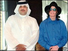 Michael Jackson,right, poses with Sheik Abdullah bin Hamad Al Khalifa, in August 2005, in Dubai.