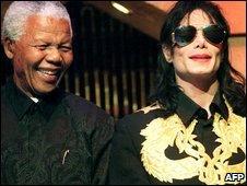 Nelson Mandela (left) and Michael Jackson (right)