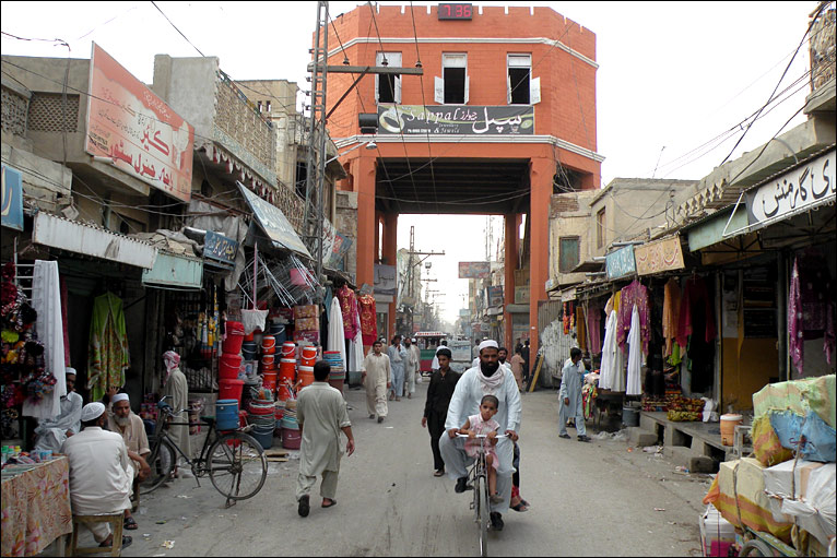 A view of the central square, Chaugalla, in Dera Ismail Khan where the four main streets of the city meet.