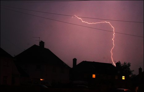 Lightning over Whitchurch, June 2009. Photo by Ceri Davies.