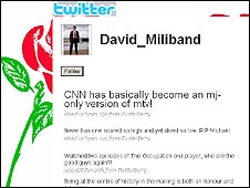 Spoof David Miliband page