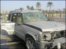 The bomb-damaged Land Rover