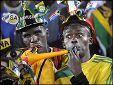 South African fans watch their team take on Brazil
