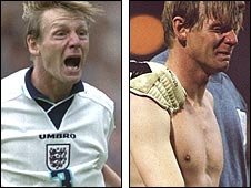 Stuart Pearce celebrates scoring a shootout penalty for England in Euro 96 (left) and cries after semi-final defeat by Germany