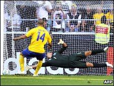 Sweden's Molins misses the decisive penalty