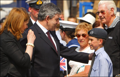 Gordon Brown and his wife Sarah at the main Armed Forces Day parade