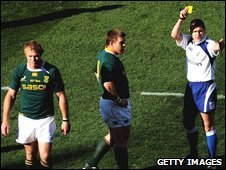 Schalk Burger and referee Christophe Berdos