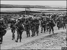 Argentine soldiers arriving in the Falkland Islands on 13 April 1982
