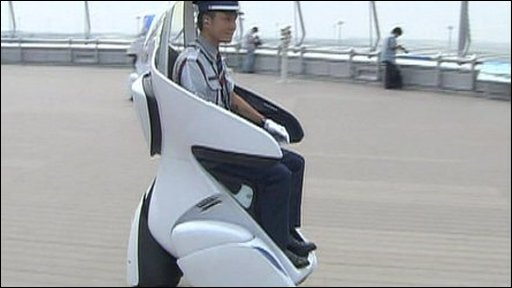 Airport staff at Chubu Airport carry out patrols on an electric tricycle