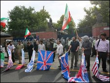 Iranian hardline students protest outside the British embassy in Tehran, 23 June