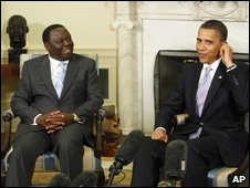 Morgan Tsvangirai with Barack Obama in Washington, 12 June 2009