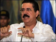 Honduran President Manuel Zelaya in the capital Tegucigapla on 27 June 2009
