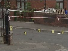 The scene of the assault at Vere Foster Walk in Belfast