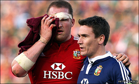 Gethin Jenkins is escorted from the field