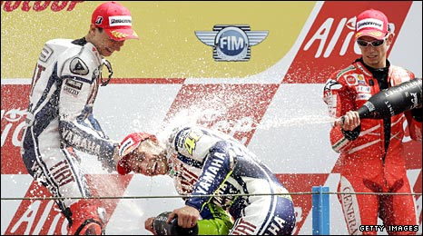 (left to right) Lorenzo, Rossi, Stoner