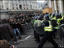 Police and protesters clashing in front of the Bank of England, London, during the G20 summit