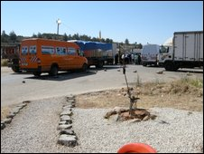 Lorries queueing at an Israeli checkpoint