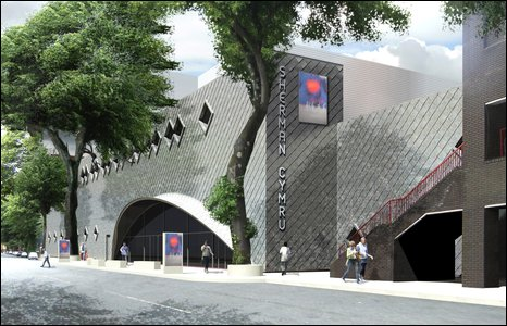 Architect's impression of the new Sherman Cymru theatre due to open in summer 2011 - courtesy Capita Architecture