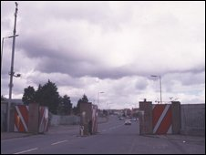 Road barrier on the Shankill Road, Belfast, 1999