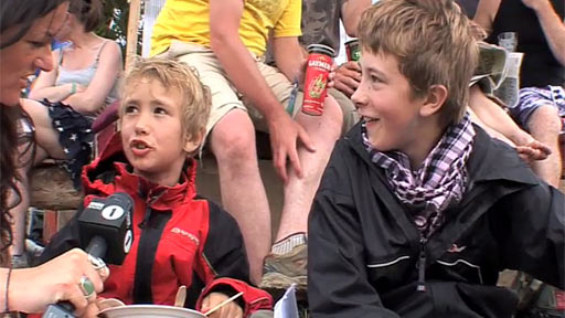Young Glastonbury fans