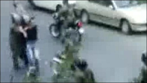 Still from a video sent from Iran