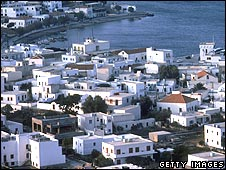 White houses in Patmos in Greece