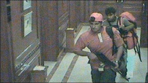CCTV footage showing gunmen inside the Taj Hotel, Mumbai