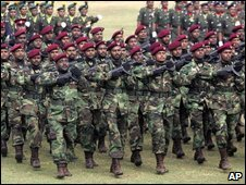Sri Lankan army commandos march during a special felicitation parade for all military regiments who took part in the recent battle against Tamil Tigers, in Colombo, Sri Lanka, Thursday, May 28