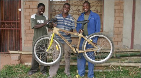 The team at Zambikes with a finished bambo bike