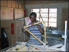 A bamboo bicycle being made