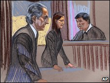 Court sketch of Madoff and Judge Denny Chin