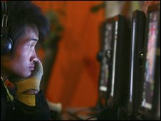 Chinese man in cyber cafe, AP