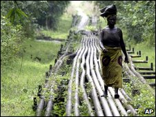 Woman walking on oil pipeline