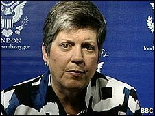 Janet Napolitano speaking to the BBC from the US embassy in London (29 June 2009)
