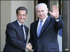 President Nicolas Sarkozy welcomes Prime Minister Benjamin Netanyahu at the Elysee Palace