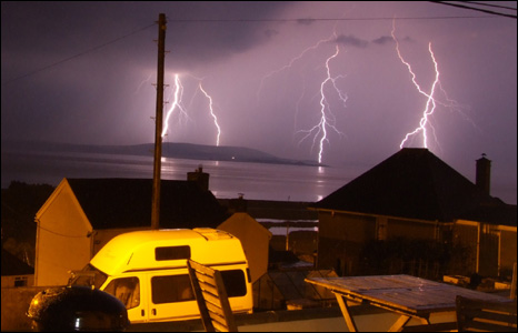 A spectacular shot of lightning over the Gower from Pete Lloyd.